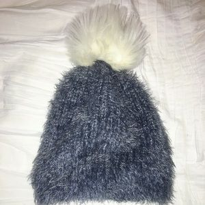 Fuzzy Abercrombie and Fitch hat w silver sparkles